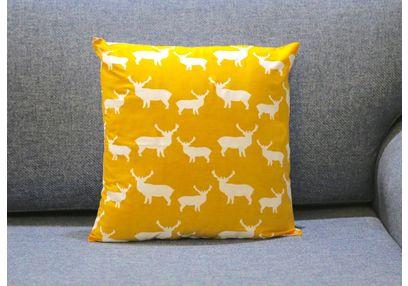 Deer Print Cushion MYC-26, pack of 1, yellow