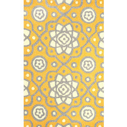 Floor Carpet and Rugs Hand Tufted, The Rug Concept Yellow Carpets Online Tbilisi 6045-M, 3ft x 5ft, yellow