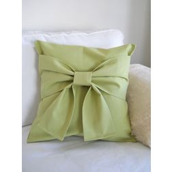 Lime Green Bow Cushion Cover MYC-45, pack of 1, green