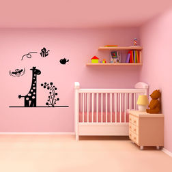 Kakshyaachitra Baby Giraffe Honey Bees and Sparrow Kids Wall Stickers, 24 24 inches
