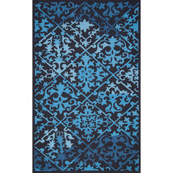 Floor Carpet and Rugs Hand Tufted, The Rug Concept Navy Carpets Online Tbilisi 6035-S, 3ft x 5ft, navy blue