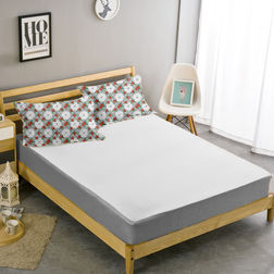 Double Bed Sheet With Two Pillow Covers BS-26, double, white