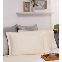 Dreamscape 100% Cotton 600TC Sateen Ivory Pillow Pair, ivory
