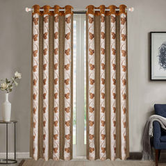 Sheer Curtains Dreamscape, Floral Brown Sheer Curtains, brown, door