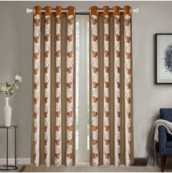 Sheer Curtains Dreamscape, Floral Brown Sheer Curtains, brown, door