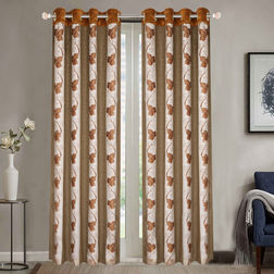 Sheer Curtains Dreamscape, Floral Brown Sheer Curtains, door, brown