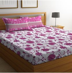 100% Cotton Bedsheets For Double Bed With 2 Pillow Covers, Dreamscape 140 TC Floral Printed Bedsheet, double, red