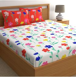 Dreamscape 180TC Twill Red Floral Double Bedsheets, red, double