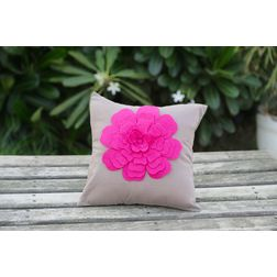 Beige Flower Cushion Cover MYC-11, pack of 1, beige