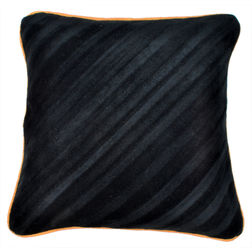 Dreamscape Striped Suede Black Cushion Covers, black