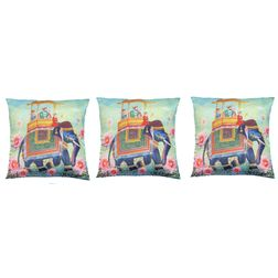 My Room Satin Green & Blue Elephant Cushion Covers, pack of 3, multi