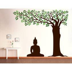 Kakshyaachitra Buddha Under Tree Wall Stickers For Bedroom And Living Room, 48 48 inches