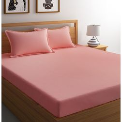 Satin Bed sheet 100% Cotton 400 High Thread count with Two Pillowcovers, double, pink