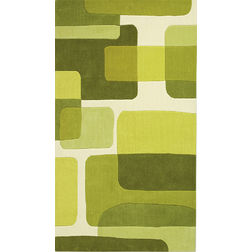 Floor Carpet and Rugs Hand Tufted AC Concept Geometric Green Carpets Online - A1-06-L, 3ftx5ft, green