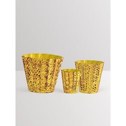 Aasra Decor Handpainted Conical Bucket Planters GardenPots & Planters, yellow
