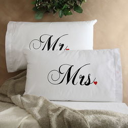 Mr & Mrs Pillow Cover MYC-93, pack of 2, white