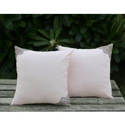 Lace End Cushion Cover MYC-15, pack of 2, pink