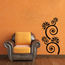 Kakshyaachitra Flowers With Spiral Stems Wall Stickers For Bedroom And Living Room, 12 24 inches