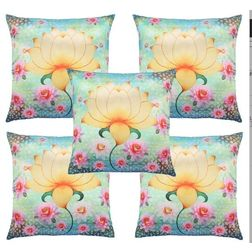 My Room Satin Yellow & Blue Lotus Cushion Covers, pack of 5, yellow