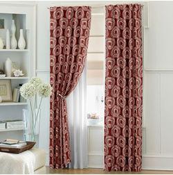 Ramkhao Geometric Readymade Curtain - 11, door, red