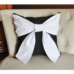 Bow Cushion Cover MYC-53, pack of 1, black