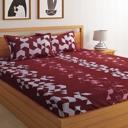 100% Cotton 144TC Geometric Designs Bed Sheet with 2 Pillow Covers,  maroon, double