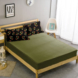 Double Bed Sheet With Two Pillow Covers BS-12, double, green