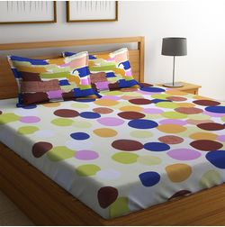 100% Cotton Bedsheets For Double Bed With 2 Pillow Covers, Dreamscape 140 TC Geometric Printed Bedsheet, double, cream