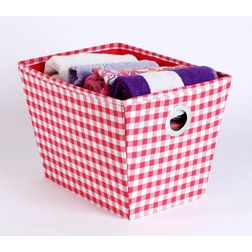 Towel Basket,  checks red