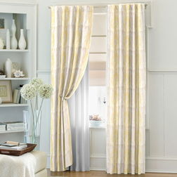 Zoya Geometric Readymade Curtain - WI708, window, yellow