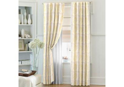 Zoya Geometric Readymade Curtain - WI708, window, yellow