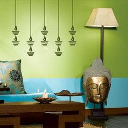 KakshyaaChitra Hanging Diya Abstract Wall Stickers