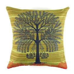 The Elephant Company Tree Warli Printed Cushion Covers, green