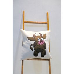 Cow Cushion Cover MYC-33, pack of 1, cream