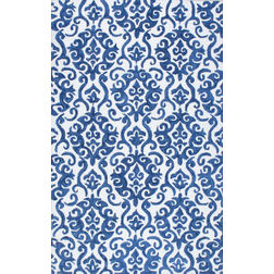 Floor Carpet and Rugs Hand Tufted, The Rug Concept Blue Carpets Online Tbilisi 6034-L, blue, 3ft x 5ft
