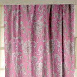 Rangshri Floral Readymade Curtain - 37, door, pink