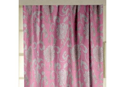 Rangshri Floral Readymade Curtain - 37, long door, pink