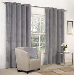 Softy Solid Readymade Curtain - SJ817, long door, grey