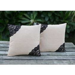 Side Lace Cushion Cover MYC-07, pack of 2, beige
