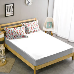 Double Bed Sheet With Two Pillow Covers BS-3, double, white