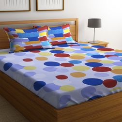 100% Cotton Bedsheets For Double Bed With 2 Pillow Covers, Dreamscape 140 TC Geometric Printed Bedsheet, double, blue
