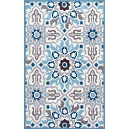 Floor Carpet and Rugs Hand Tufted, The Rug Concept Blue Carpets Online Tbilisi 6080-L, blue, 3ft x 5ft