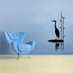 Kakshyaachitra Stork By Water Wall Stickers For Bedroom And Living Room, 12 24 inches