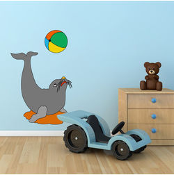 Kakshyaachitra Dolphin Palying with Ball in Circus Kids Wall Stickers, 24 37 inches
