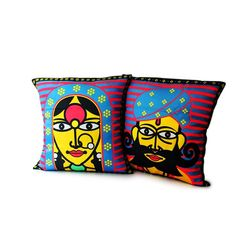 Mad(e) In India Rajasthani Couple Printed Cushion Covers, blue
