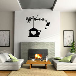 Kakshyaachitra Love Bird House Wall Stickers Kids Wall Stickers, 48 37 inches