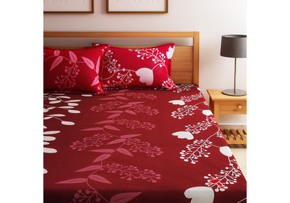 Home Ecstasy 100% Cotton 140TC One Bed sheet With Two Pillow Covers New, double,  maroon