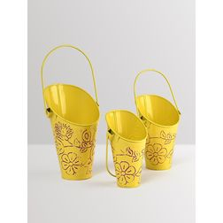 Aasra Decor Handpainted Yellow Planters Set Of 3 GardenPots & Planters, yellow