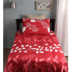 Home Ecstasy 100% Cotton 140TC Single Bed sheet With One Pillow Cover, single, red