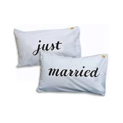 Just Married Pillow Cover MYC-78, pack of 2, white